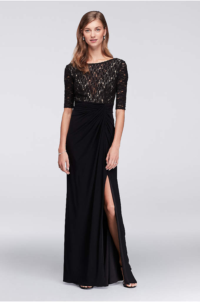 Lace Bodice Dress with Gathered Jersey Skirt - A classic look for the mother of the