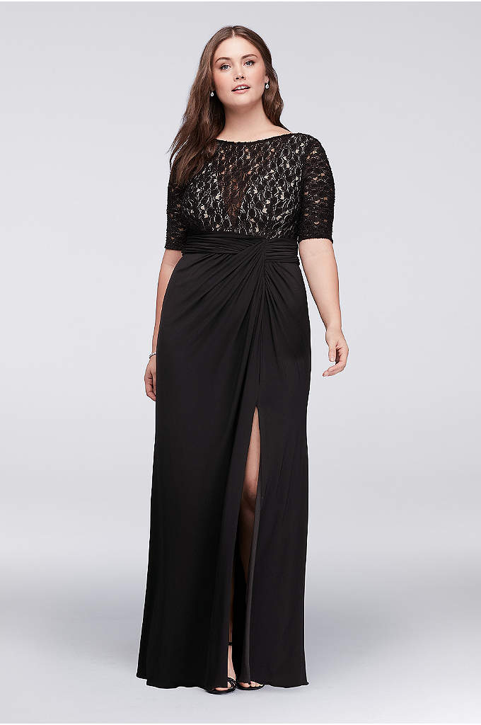 Lace Bodice Plus Size Dress with Ruched Skirt - A classic look for the mother of the