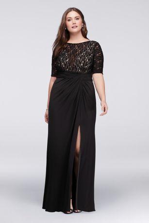 Plus size lace bodice dress