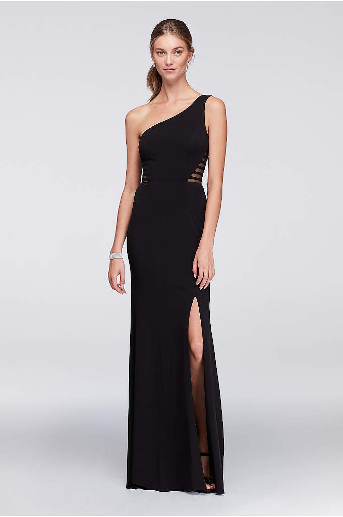 One-Shoulder Jersey Gown with Illusion Sides - Striped mesh insets lend modern detail to a