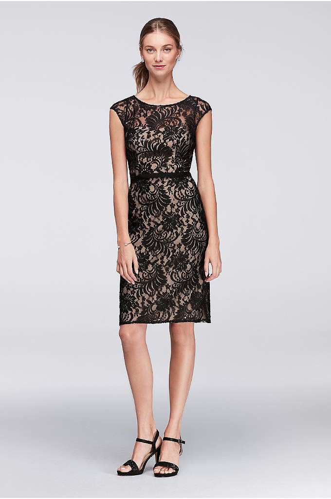Illusion Lace Cocktail Dress with Ribbon Belt