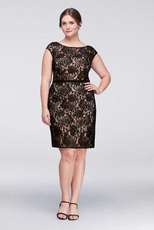 Plus size white lace cocktail dress