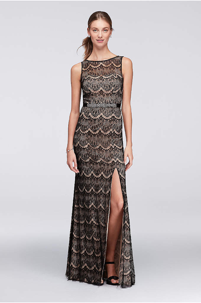 Eyelash Lace Long Sheath Dress with Keyhole Back - Delicately woven lace culminates in soft fringe at