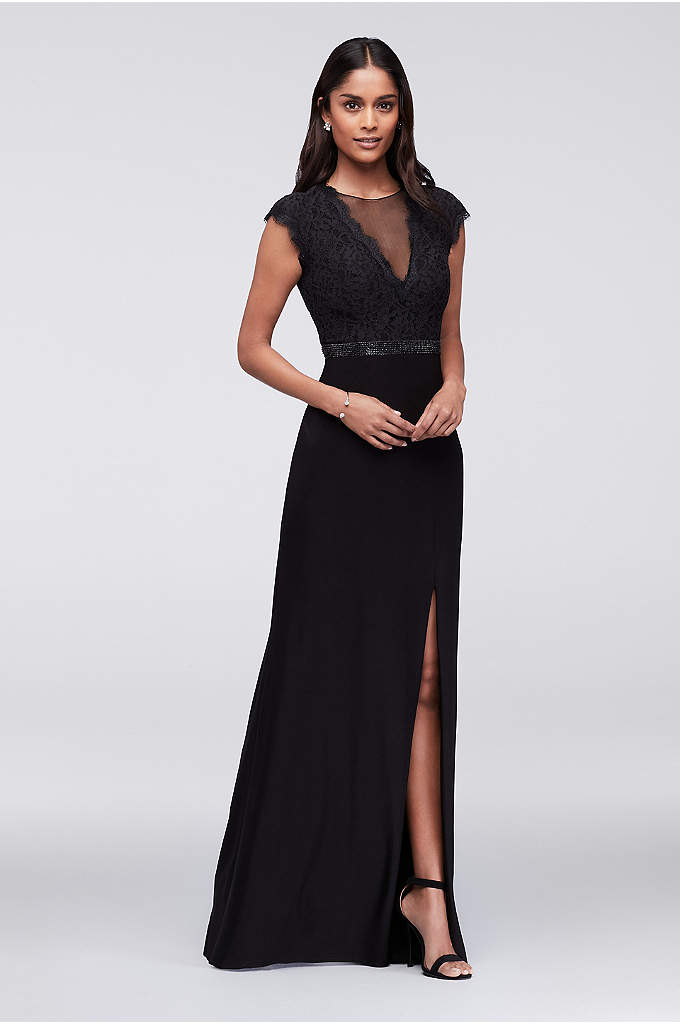 Illusion and Lace Gown with Keyhole Back - This lace-bodice dress features a deep illusion V-neck