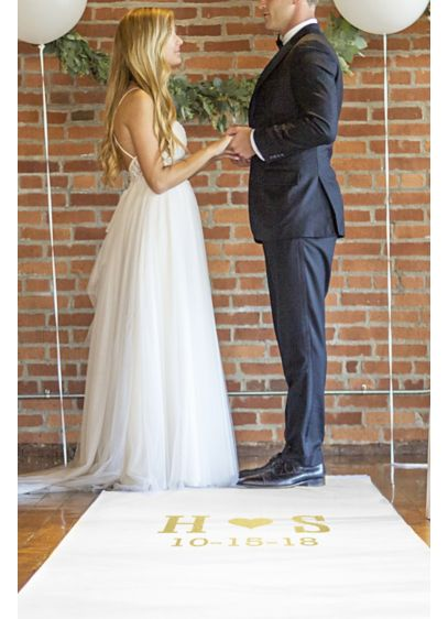 White (Personalized Aisle Runner with Gold Foil Script)