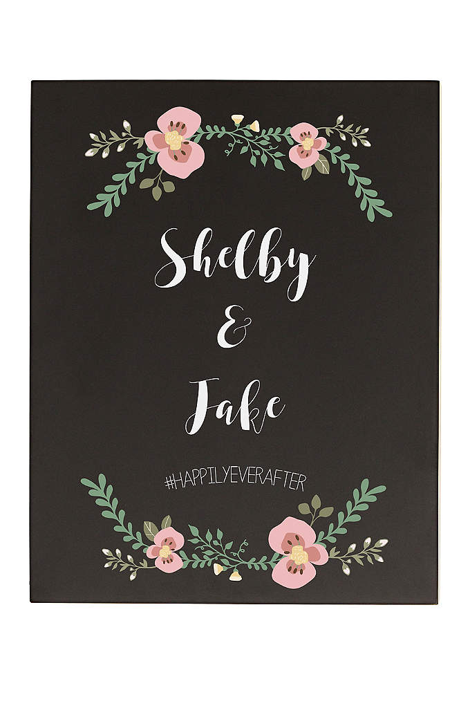 Personalized Floral Wedding Chalkboard Sign - The Personalized Wedding Chalkboard Sign features a charming