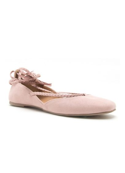 Qupid Pink (Braided Lace-Up Flats with Tassels)