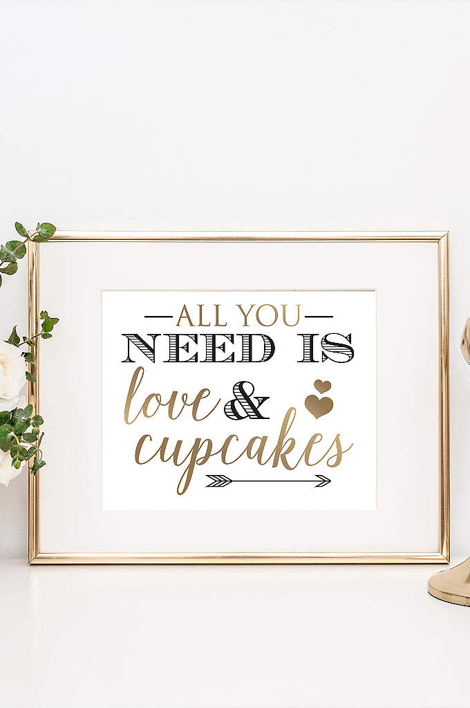 Love and Cupcakes Wedding Dessert Table Sign - Direct guests to the wedding cake and other