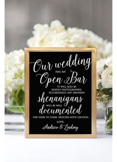 Personalized Open Bar Script Reception Sign - Wedding Gifts & Decorations