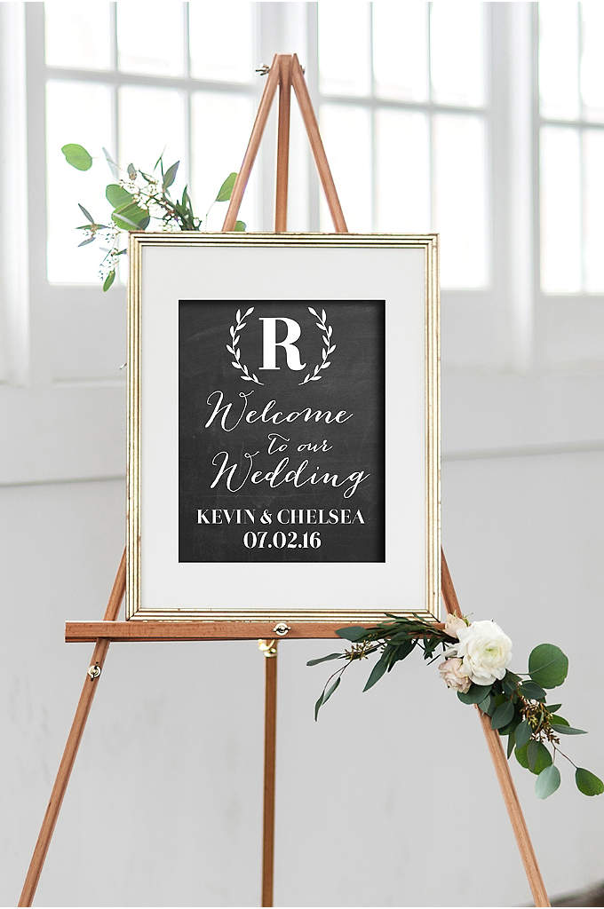 Personalized Monogram Wreath Wedding Welcome Sign - Greet wedding guests with a personalized welcome sign