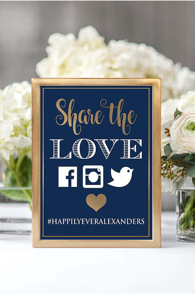 Personalized Share the Love Wedding Hashtag Sign - Tell wedding guests to tag social media posts