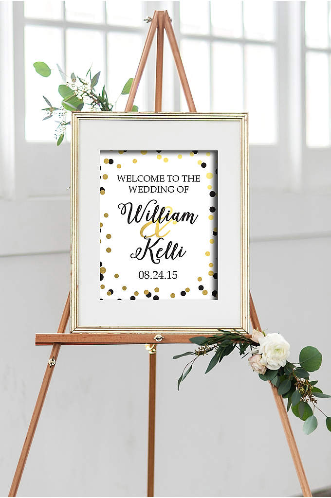 Personalized Black and Gold Dot Welcome Sign - Greet your wedding guests with a personalized welcome