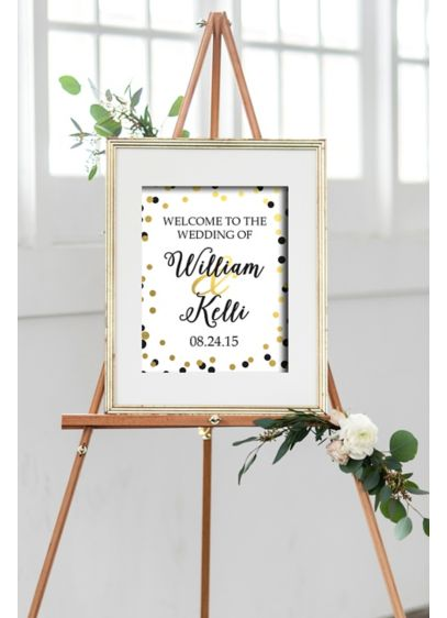 Personalized Black and Gold Dot Welcome Sign - Wedding Gifts & Decorations