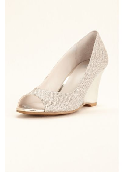 Grey (Glitter Peep Toe Wedge)