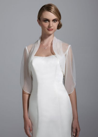 3/4 Sleeve Tulle Jacket with Ruched Neckline WG110