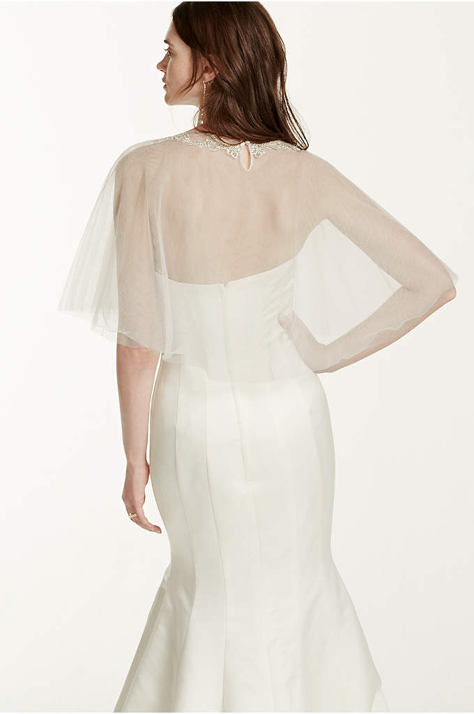 Tulle Cape with Detailed Neckline - The perfect coverage option for the classic vintage