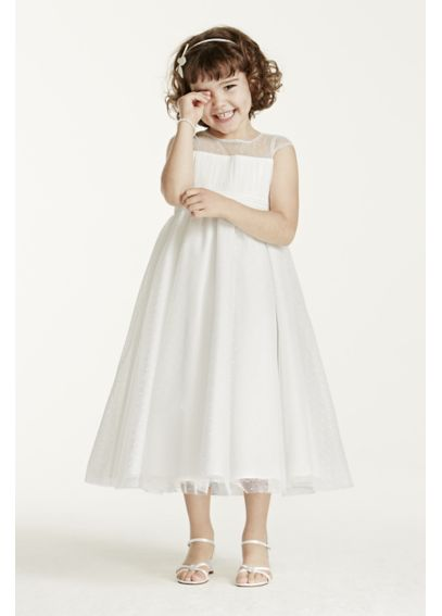 Illusion Cap Sleeve Dot Tulle Dress WG1344