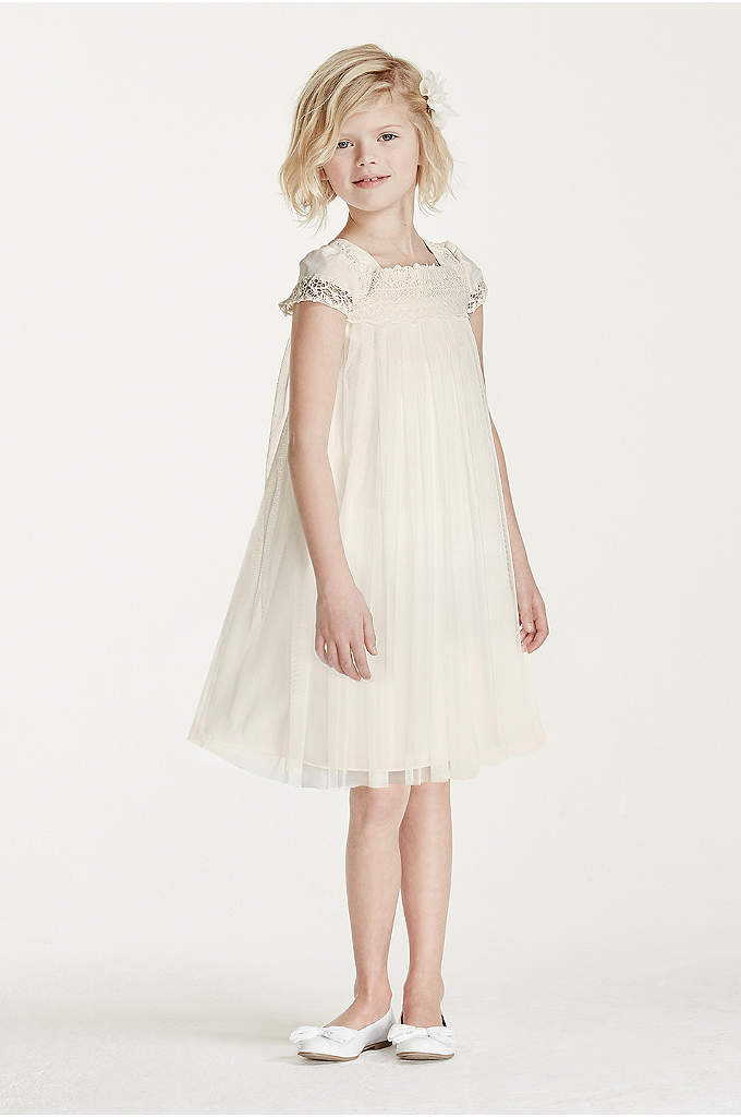 Short Sleeved Empire Tulle Sheath - This whimsical dress will delight your smallest bridal