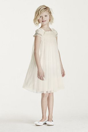 Short Sleeved Empire Tulle Sheath