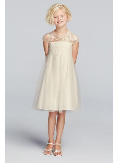 Mesh Flower Girl Dress With Illusion Neckline David S Bridal