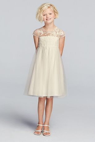 Mesh Flower Girl Dress with Illusion Neckline