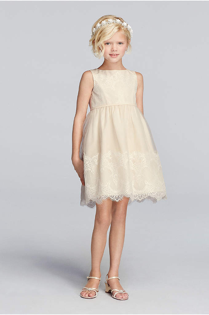Tank Tulle Flower Girl Dress With Lace Applique