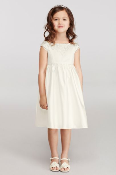 Cap Sleeve Flower Girl Dress with Lace Appliques | David's Bridal