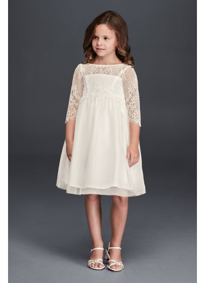 Short A-Line Long Sleeves Communion Dress - David's Bridal
