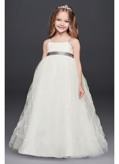 Tulle flower girl dress with pearl pick ups davids bridal long ballgown spaghetti strap dress davids bridal mightylinksfo