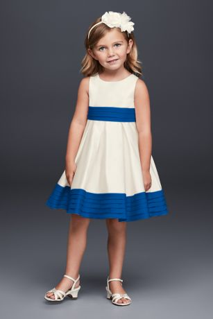 Satin flower girl dress with pleated waist and hem