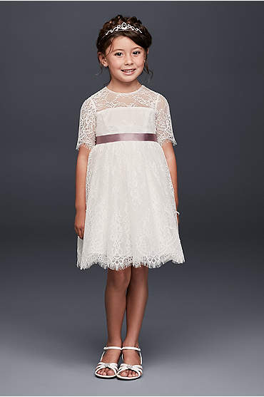 Eyelash Lace Fit-and-Flare Flower Girl Dress