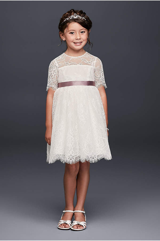 Eyelash Lace Fit-and-Flare Flower Girl Dress - Fringy eyelash lace scallops give the hem and