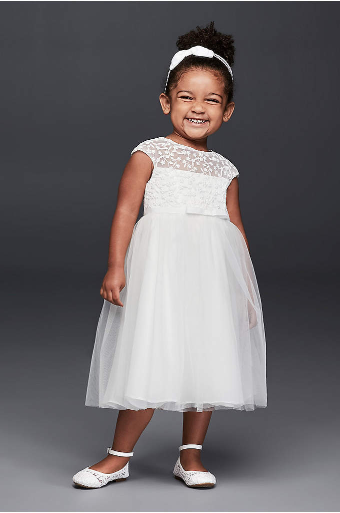 Tulle Flower Girl Dress with Floral Embroidery - Tiny floral embroidery adds sweet texture to the
