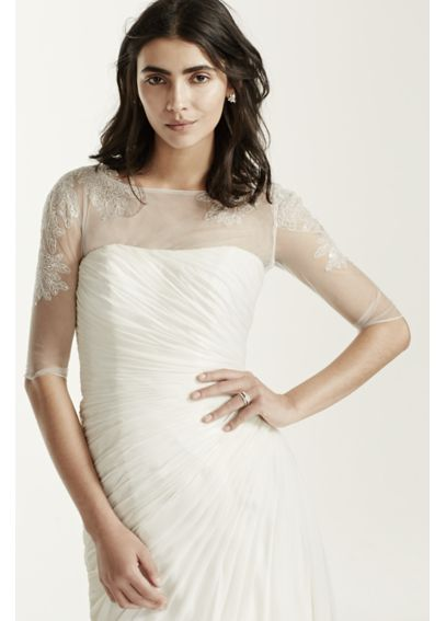 3/4 Sleeve Tulle Topper with Lace Appliques WG150