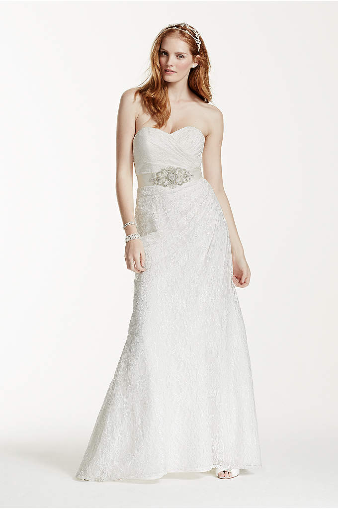 Sweetheart Strapless Lace Wedding Dress - Timeless and elegant, this lace over satin gown