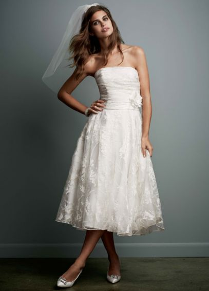 Short Printed Organza Gown with Floral Sash WG3313