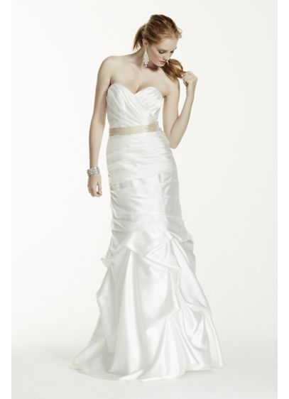 Ruched strapless wedding dress with pick up skirt davids for Pick up skirt wedding dresses