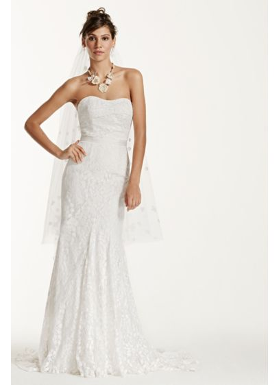 Strapless lace gown with ribbon detail davids bridal long sheath beach wedding dress galina junglespirit Gallery