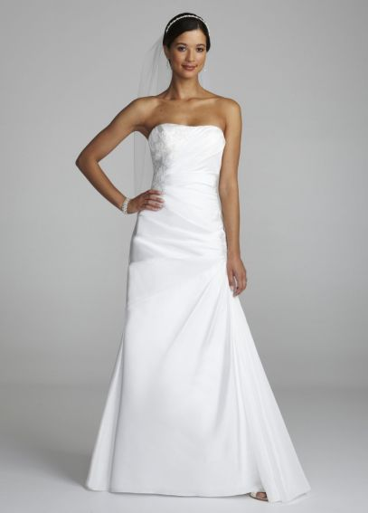 Strapless Taffeta Side Drape Lace Gown WG3394