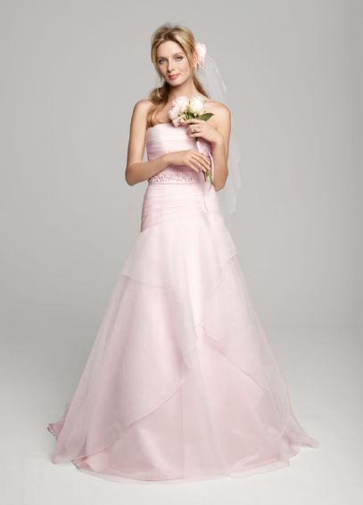 A-line Organza Over Satin Gown with Beaded Sash WG3412