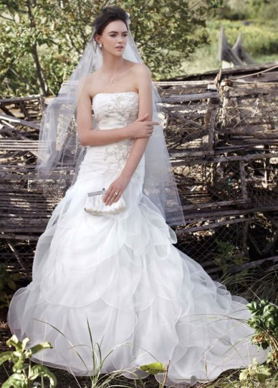 Organza Drop Waist Wedding Dress with Beading WG3416