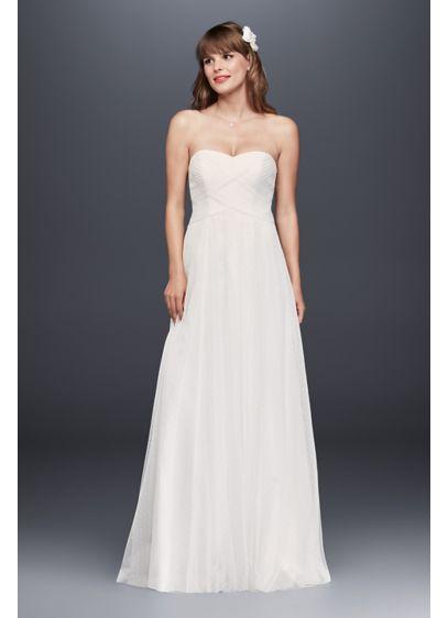 Swiss dot tulle empire waist soft wedding gown davids bridal for Dotted swiss wedding dress