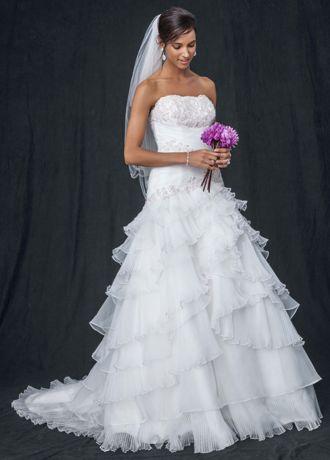 Lace tier wedding dress