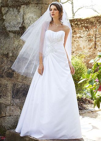 Satin Side Draped Gown with Beaded Lace Appliques