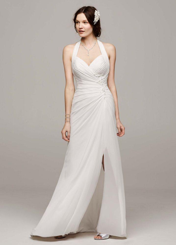 David 39 s bridal chiffon wedding dress with high slit and for Wedding dresses halter style