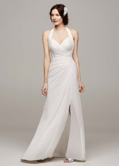 Chiffon Halter Wedding Dress with High Slit WG3482