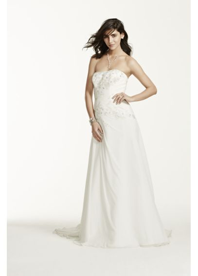 Chiffon Over Satin Wedding Dress with Side Drape WG3483