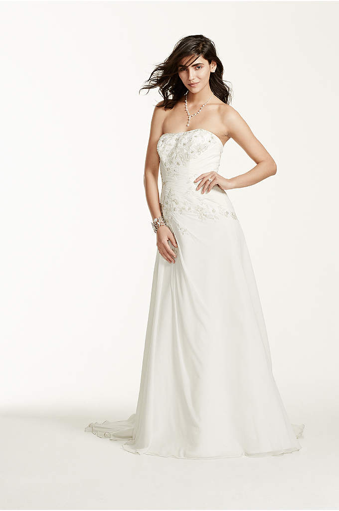 Side draped crepe jumpsuit with beaded capelet davids bridal for Sheath wedding dress with beading and side drape