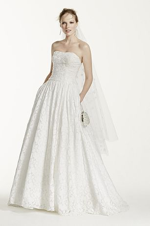Lace Ball Gown with Intricate Embroidered Details