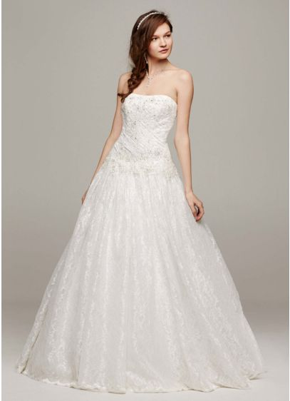 Strapless All Over Beaded Lace Wedding Dress | David\'s Bridal